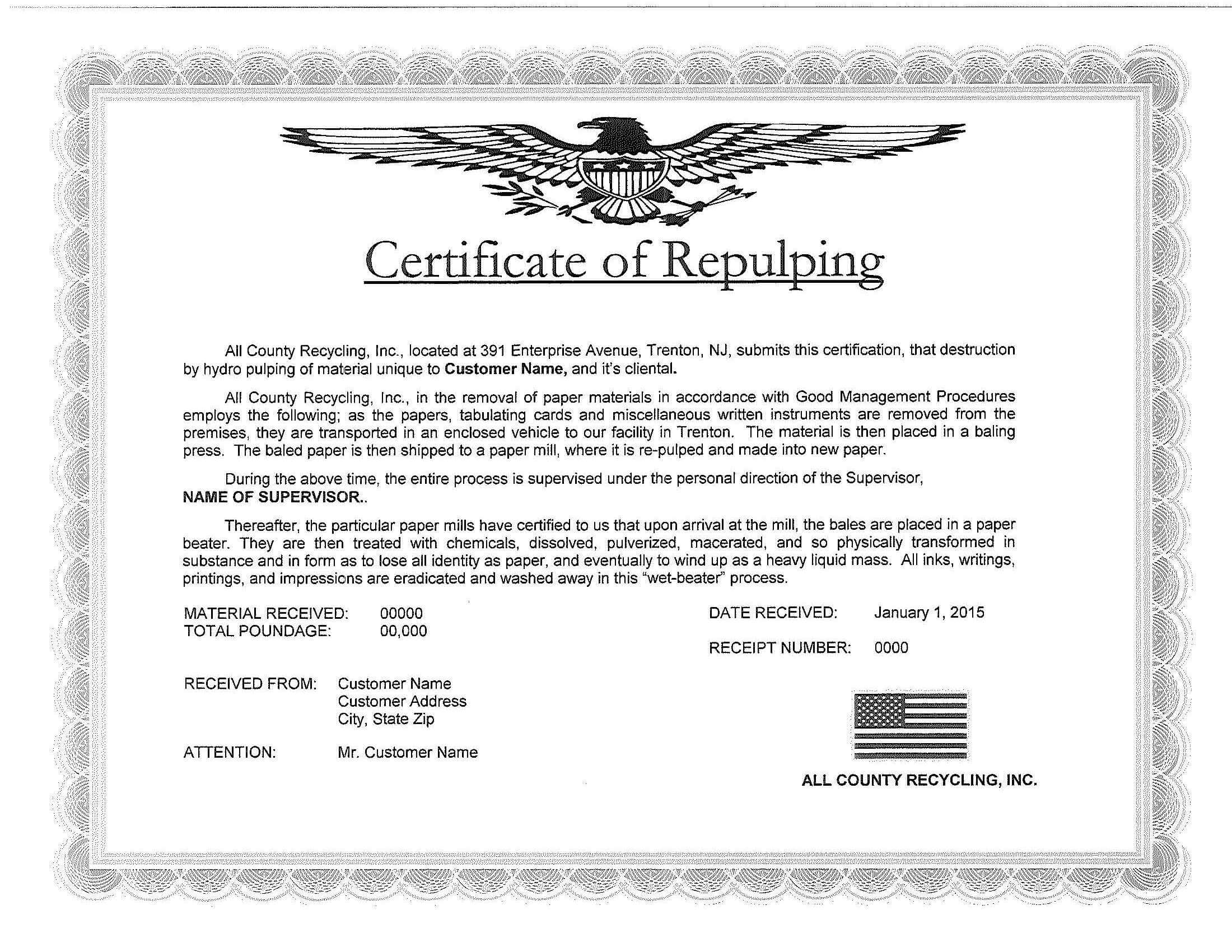 Certificates Of Destruction All County Recycling Certificate Of